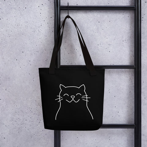 Happy Cat Black Tote Bag