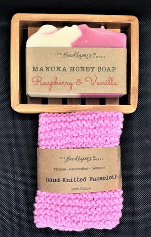 Manuka Honey Soap, Dish, Cotton Face-cloth Gift