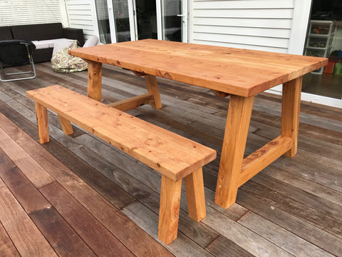 Outdoor Macrocarpa Table and Bench