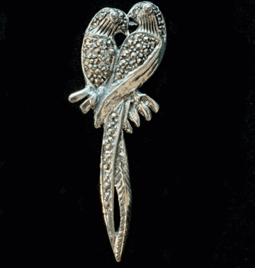 Parrot Brooch - Sterling Silver & Marcasite