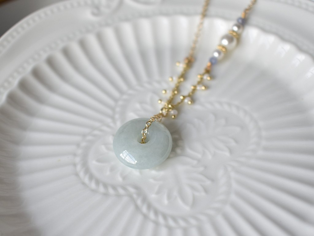 Necklace: Jade Donut 13