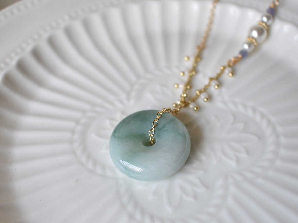 Necklace: Jade Donut 15