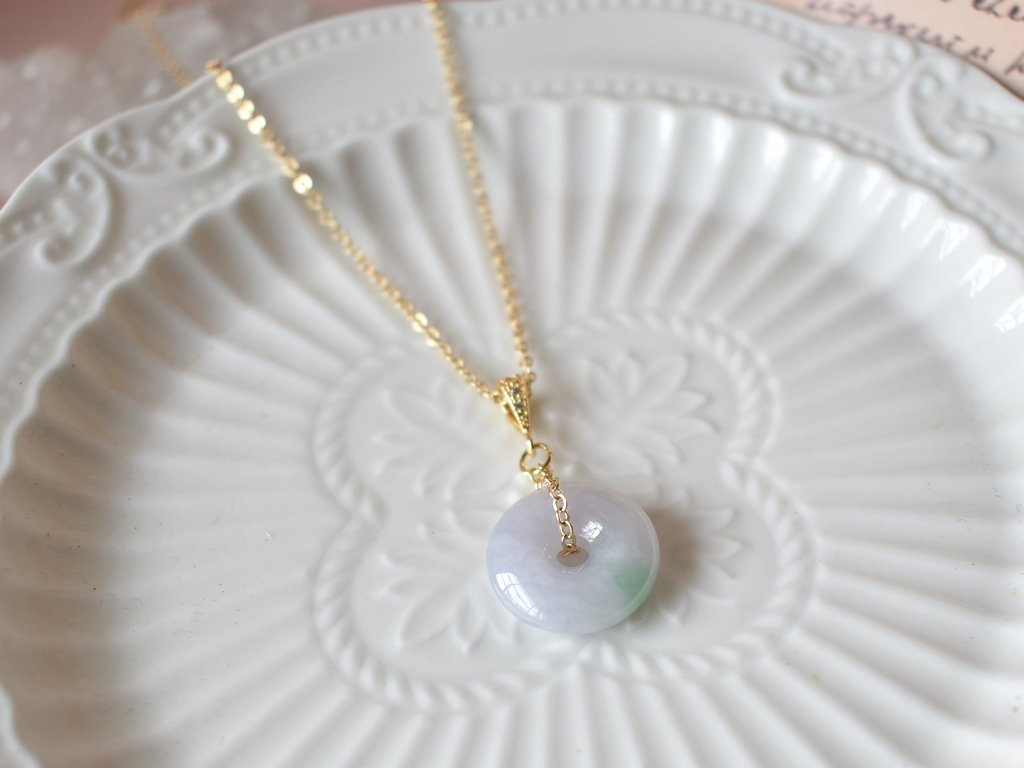 Necklace: Lavender Jade Donut 0.1