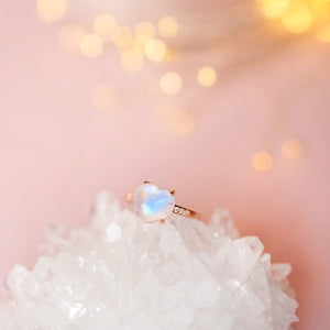 Ring: Moonstone Heart Ring