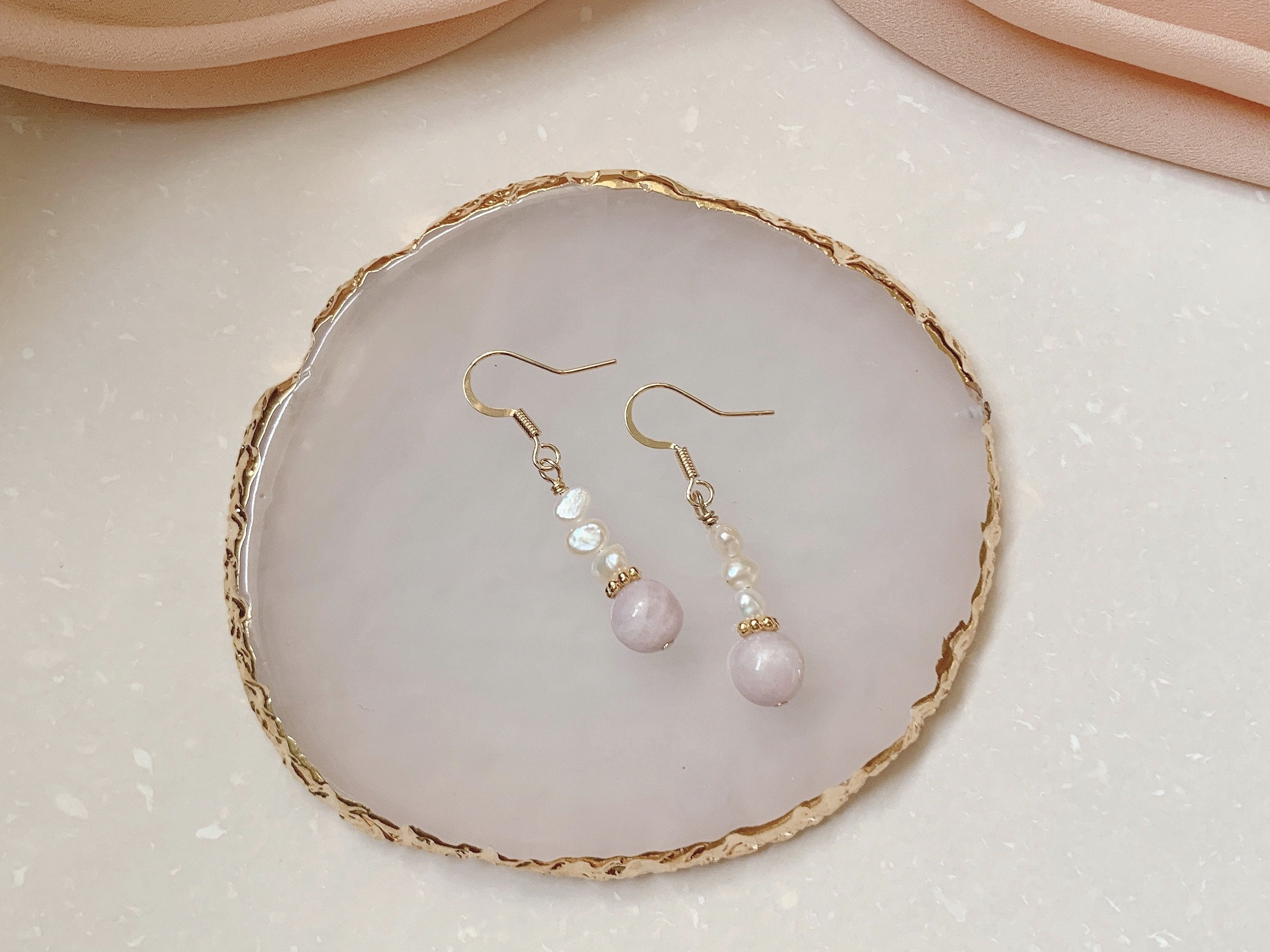 Earrings: Kunzite, Pearl