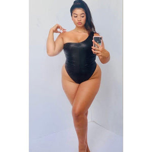 Amber One Piece Swimsuit Monokini Leather Look Black