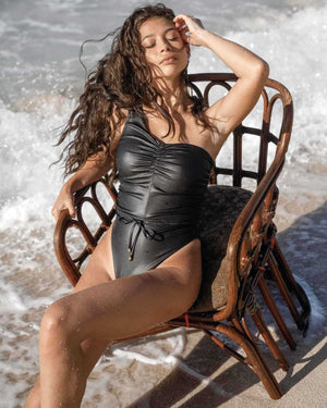 Amber One Piece Swimsuit Monokini Leather Look Black Size L