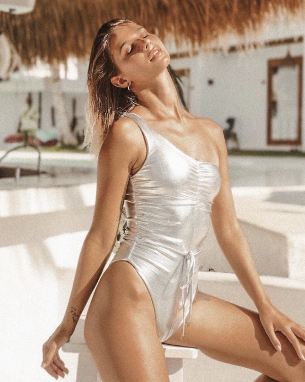 Amber One Piece Swimsuit Monokini Metallic Silver Size XS