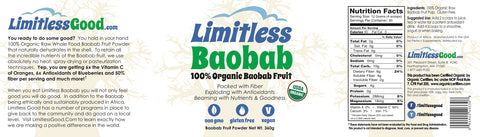 Limitless Baobab 100% Organic Baobab Fruit Powder (360 grams)