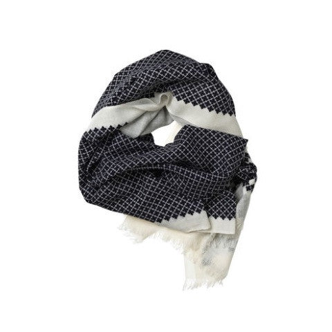 antigua printed signature scarf - black & white - by malene birger
