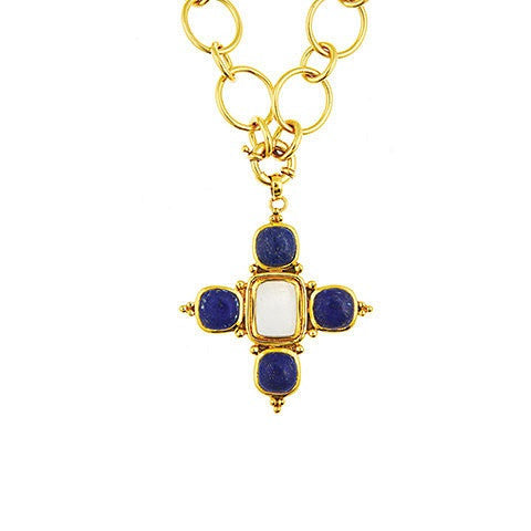 catherine pendant necklace - moonstone & lapis
