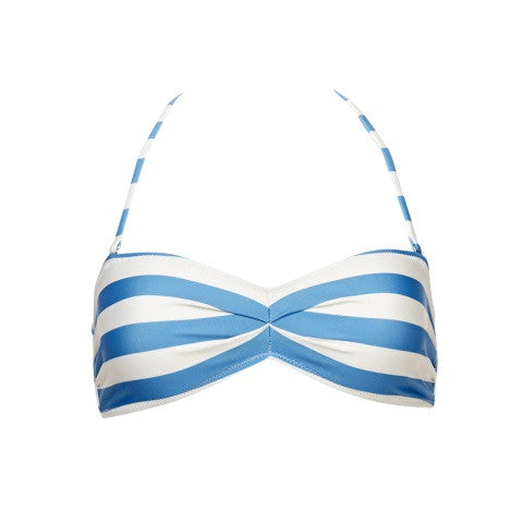 chloe swimwear top - blue & white