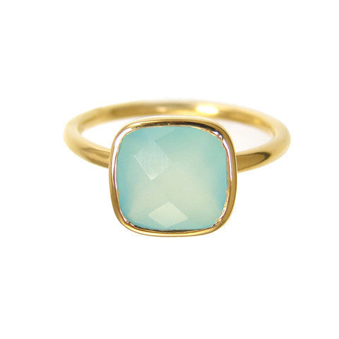 cushion cut ring - aqua chalcedony