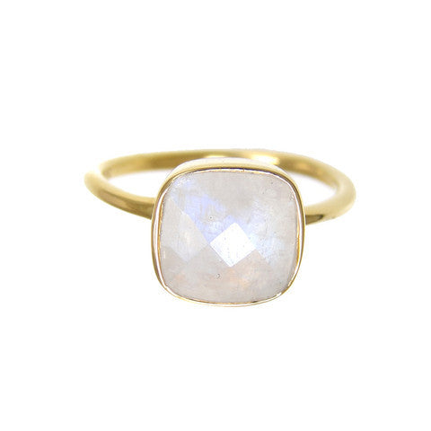 cushion cut ring - moonstone