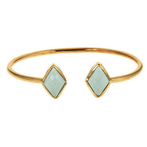 diamond 2 stone bangle - aqua chalcedony