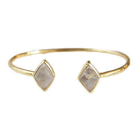 diamond 2 stone bangle - gold rutilated quartz