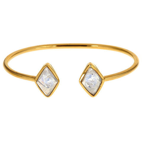 diamond 2 stone bangle - moonstone