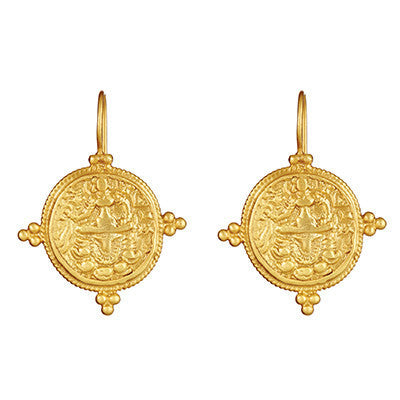 gold quatro coin earrings