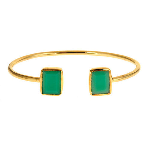 emerald 2 stone bangle - chrysopase