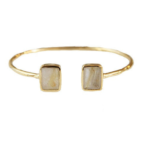emerald 2 stone bangle - gold rutilated quartz