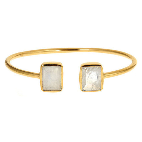 emerald 2 stone bangle - moonstone