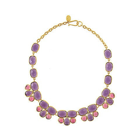 esme necklace - amethyst & pink tourmaline