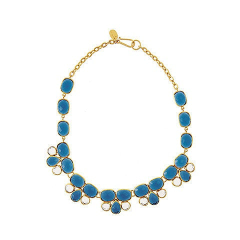 esme necklace - saphire blue & rock crystal
