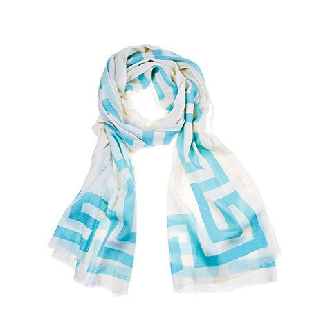 greek key scarf - aqua