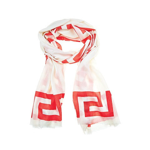 greek key scarf - coral