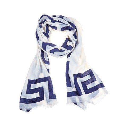 greek key scarf - india ink