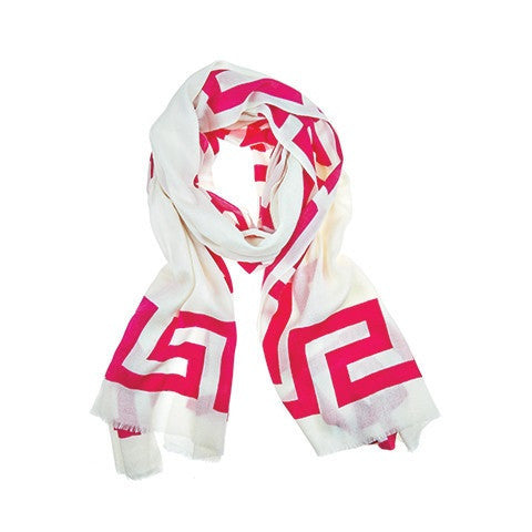 greek key scarf - raspberry