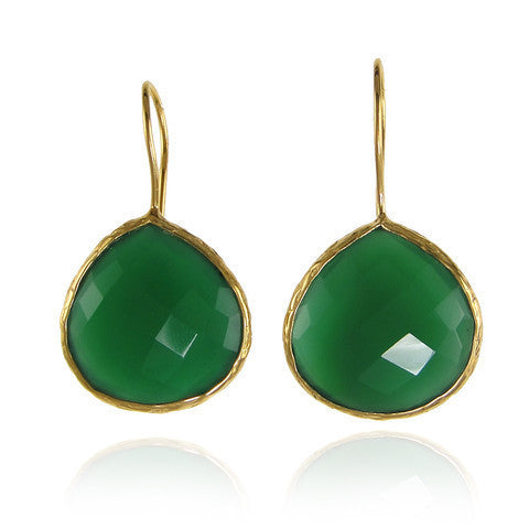 teardrop earrings - green onyx