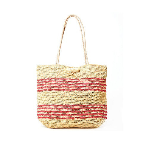 hampton tote - natural & coral