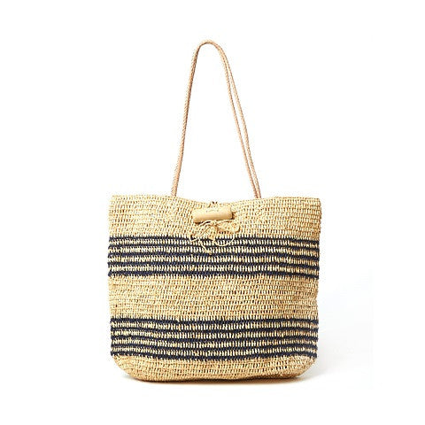 hampton tote - natural & navy