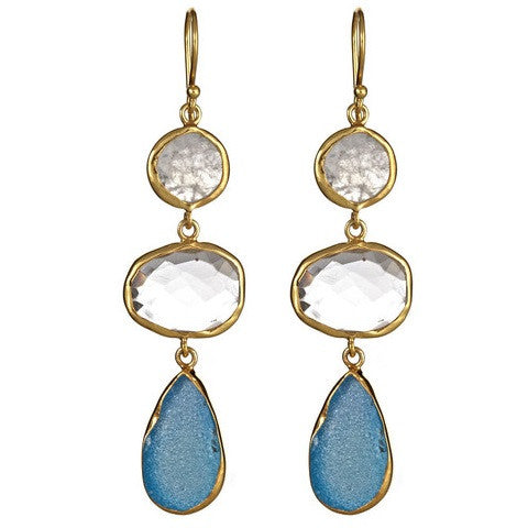 3 stone drop earrings - rainbow moonstone & clear quartz & aqua druzy