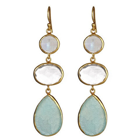 3 stone drop earrings - rainbow moonstone & aqua chalcedony & blue druzy