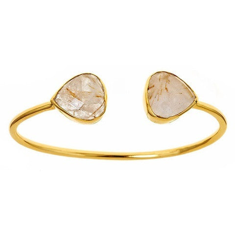 teardrop bangle - golden rutilated quartz