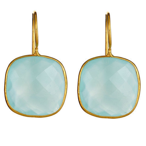 cushion cut drop earrings - aqua chalcedony