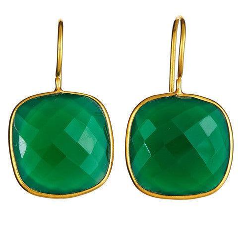 cushion cut drop earrings - green onyx
