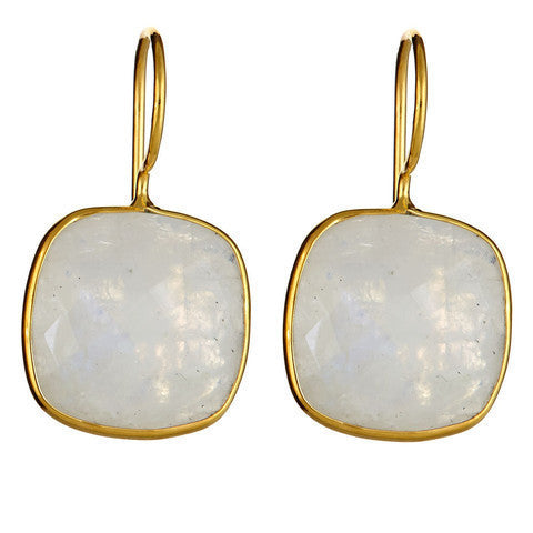 cushion cut drop earrings - moonstone