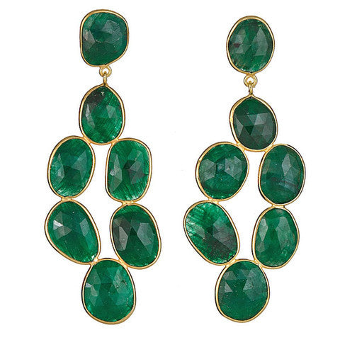 chandelier earrings - emerald