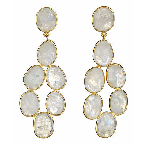 chandelier earrings - moonstone