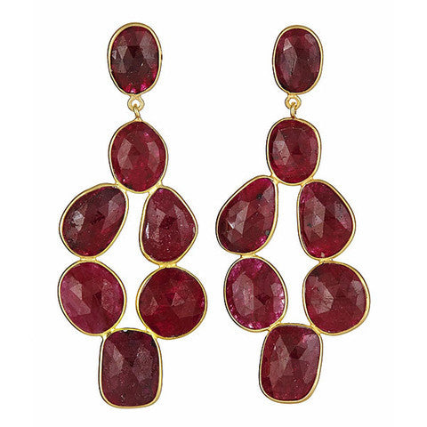 chandelier earrings - ruby