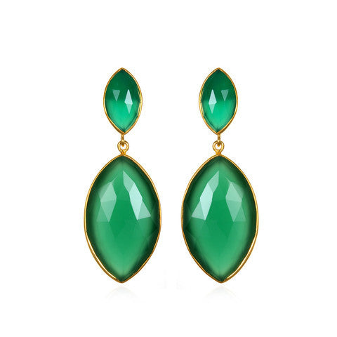marquis drop earring - green onyx