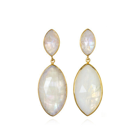 marquis drop earring - moonstone