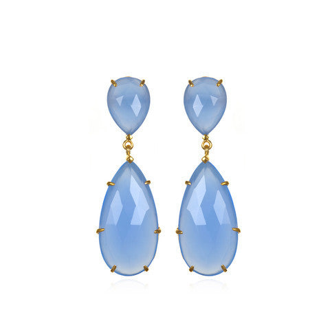penelope drop earring - blue chalcedony