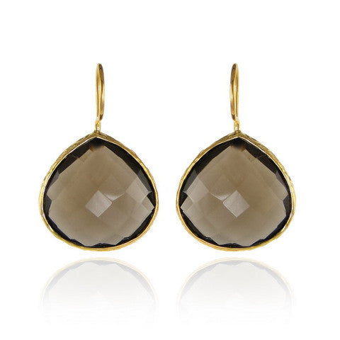 teardrop earrings -smoky quartz