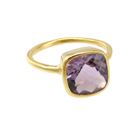 cushion cut ring - amethyst