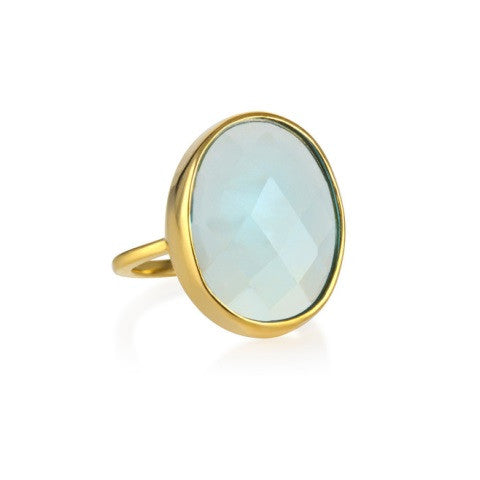 faceted cocktail ring - aqua chalcedony