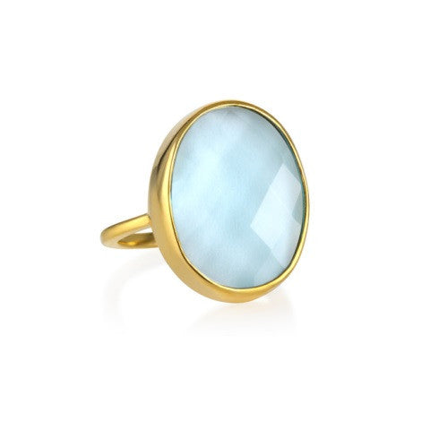 faceted cocktail ring - blue topaz